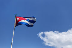 Cuban national flag. The cuban flag on a sunny day in Havana, Cuba royalty free stock photos