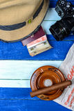 Cuban national items on flag background Royalty Free Stock Image