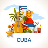 Cuban National Symbols Composition Poster Print. Cuban national symbols composition poster with flag guitar rum cocktail and royal palm flat abstract vector Stock Image