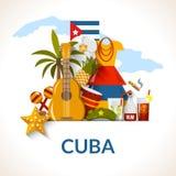 Cuban National Symbols Composition Poster Print Stock Image