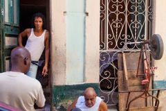 Cuban native people on streets of Havana Royalty Free Stock Image
