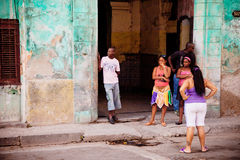 Cuban native people on streets of Havana Stock Images