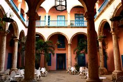Cuban Patio In Havana, Cuba Royalty Free Stock Photography
