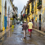Cuban people in an old neighborhood in Havana Royalty Free Stock Photography