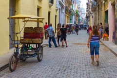 Cuban people on a street in Old Havana Royalty Free Stock Photo