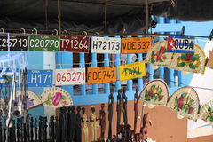 Cuban plaques and souvenirs Royalty Free Stock Photos