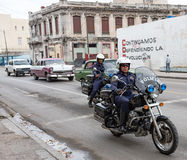 Cuban Police on Motorcycles - Havana, Cuba Stock Photos