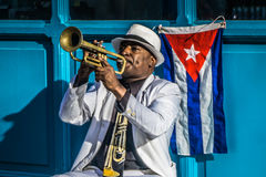 Cuban portrait from Trumpet player on street Royalty Free Stock Photography