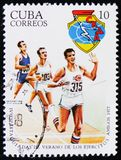 Cuban postage stamp devoted to 4 Spartakiad and shows Athletics, circa 1977 Royalty Free Stock Photography