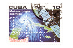 Cuban postage stamp macro Royalty Free Stock Image