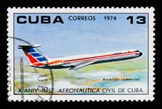 Cuban postage stamp shows Jet, 10 anniversary of the Institute of Civil Aviation, circa 1974 Stock Photos