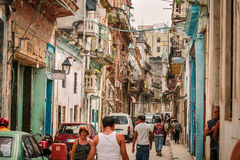 Cuban retro vintage classic Havana city busy street with people in background Stock Photo