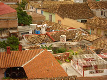 Cuban roofs. Colorful architecture of a Cuban town royalty free stock image