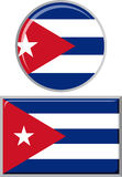 Cuban round and square icon flag. Vector Stock Image