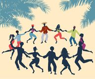 Cuban Rueda, or group of people dancing salsa in a circle. Under tropical palm trees vector illustration