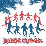 Cuban Rueda, or group of people dancing salsa in a circle. Under tropical palm trees royalty free illustration