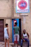 Cuban Rumba school `La Rumba Soy Yo` in Matanzas. Cubans in front of an entrance to Cuban Rumba school `La Rumba Soy Yo` in Matanzas in Cuba, city were Rumba Royalty Free Stock Photography