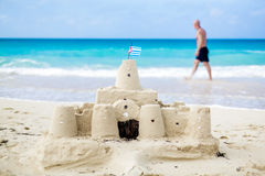 Cuban Sandcastle with the country Flag in Cuba. Stock Photo