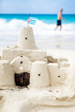 Cuban Sandcastle with the country Flag in Cuba. Royalty Free Stock Photos