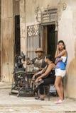 Cuban shoemaker repairing shoe Havana royalty free stock photos