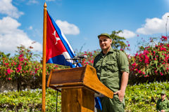 Cuban Soldier at the Podium - Villa Clara, Cuba Royalty Free Stock Images