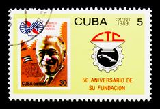 Cuban stamp 2477, CTC emblem, Central Organisation Cuban Trade U. MOSCOW, RUSSIA - NOVEMBER 25, 2017: A stamp printed in Cuba shows Cuban stamp 2477, CTC emblem Royalty Free Stock Photo