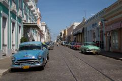 Cuban street. With parked cars Stock Image