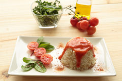Cuban style rice on a white plate elongated Stock Photos