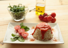 Cuban style rice on a white plate elongated Stock Image