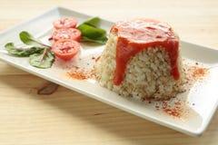 Cuban style rice on a white plate elongated Stock Photo