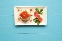 Cuban style rice on a white plate elongated Royalty Free Stock Image
