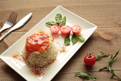 Cuban style rice on a white plate elongated Royalty Free Stock Photography
