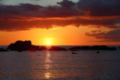 Cuban sunset. The sun going down into the Caribbean sea Stock Photography