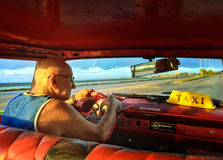 Cuban taxi driver Royalty Free Stock Photography
