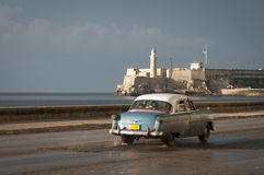 Cuban Taxi on the Malecon Havana Cuba Stock Photo