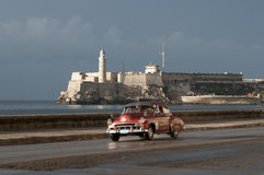 Cuban Taxi on the Malecon Havana Cuba Stock Photos