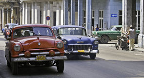 Cuban Traffic. Classic American Cars at Old Havana, Cuba Stock Photos