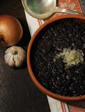 Cuban typical food - black beans stock images