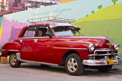 Cuban Vintage Car. Beautiful red vintage car, Havana, Cuba Stock Image