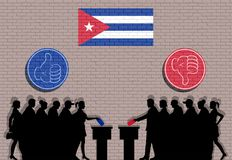 Cuban voters crowd silhouette in election with thumb icons and Cuba flag graffiti. All the silhouette objects, icons and background are in different layers stock illustration