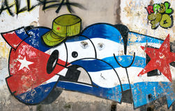 Cuban wall painting in Havana. Wall painting with the colours of the cuban flag and the green military beret Stock Image
