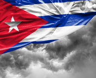 Cuban waving flag on a bad day Royalty Free Stock Images