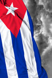 Cuban waving flag on a bad day Stock Image