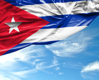 Cuban waving flag on a beautiful day Royalty Free Stock Image