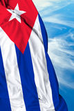 Cuban waving flag on a beautiful day Royalty Free Stock Photos