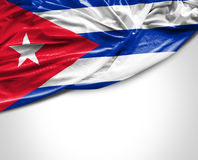 Cuban waving flag on white background.  Royalty Free Stock Photo