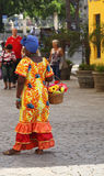 Cuban woman in colorful dress royalty free stock images
