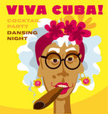 Cuban woman face. Cartoon vector illustration for music poster. cuba girl with floral decor and cigar. caribien ethnic caricature grotesque poster vector illustration