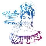 Cuban woman face. cartoon vector illustration for music poster. Cuba girl with floral decor and cigar. Caribbean ethnic caricature grotesque poster Royalty Free Stock Photos