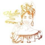 Cuban woman face. cartoon vector illustration for music poster. Cuba girl with floral decor and cigar. Caribbean ethnic caricature grotesque poster Stock Photos